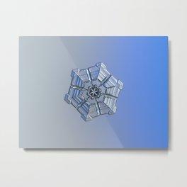 Real snowflake macro photo - Winter fortress Metal Print