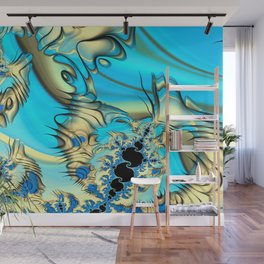 Wind Tunnels and Black Holes Fractal Blue and Yellow Wall Mural