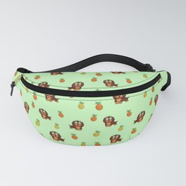 Cute tropical Dachshund and Pineapple Pattern (Green) Fanny Pack