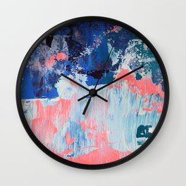 Mixtapes and Bubblegum: a colorful abstract piece in pinks and blues by Alyssa Hamilton Art Wall Clock
