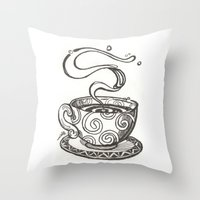 whisky Throw Pillows featuring She drinks whisky in a tea cup by grishpradip