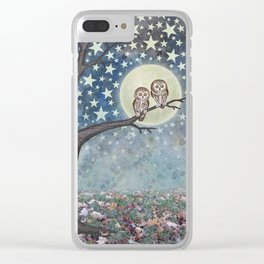 northern saw whet owls under the stars Clear iPhone Case