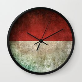 Old and Worn Distressed Vintage Flag of Indonesia Wall Clock