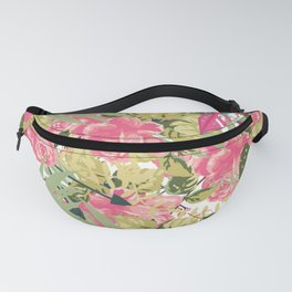 Country botanical pink forest green roses floral greenery Fanny Pack