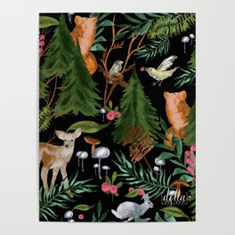 Winter Forest Animals Poster