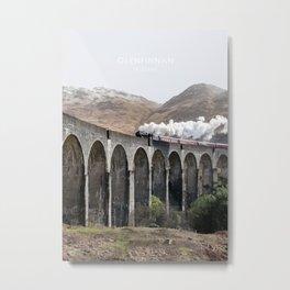 Glenfinnan Viaduct, Scotland Travel Illustration Metal Print