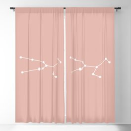 Taurus Zodiac Constellation - Pink Rose Blackout Curtain