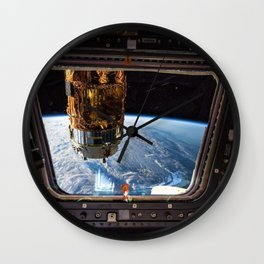 Space Station Window Overlooking Planet Earth Wall Clock