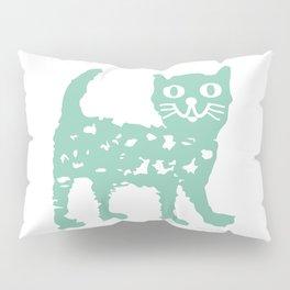 Mint cat drawing, cat drawing Pillow Sham