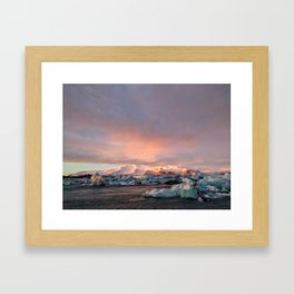 Sunrise at Jokulsarlon Glacier Lagoon Framed Art Print
