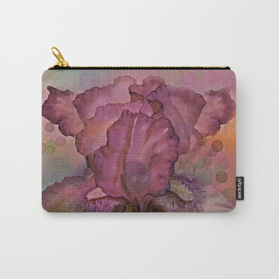Deep Pink Watercolor Iris Carry-All Pouch