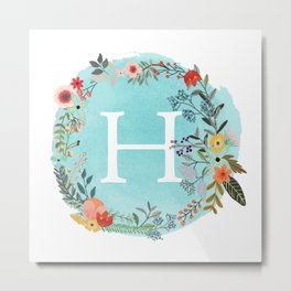 Personalized Monogram Initial Letter H Blue Watercolor Flower Wreath Artwork Metal Print