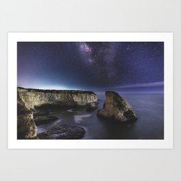 Milky Way over Shark Fin Cove Art Print