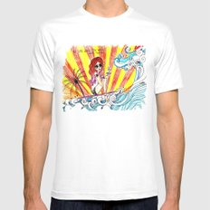 if life gives you waves... White MEDIUM Mens Fitted Tee