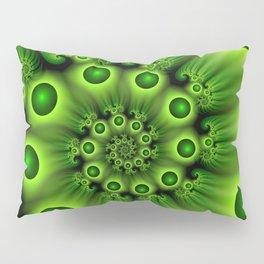 Green Fractal, Modern Spiral With Depth Pillow Sham