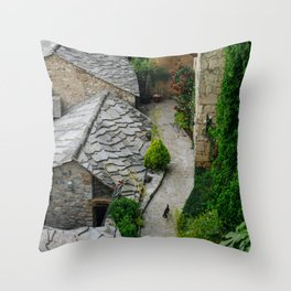 Old town and a cat Throw Pillow