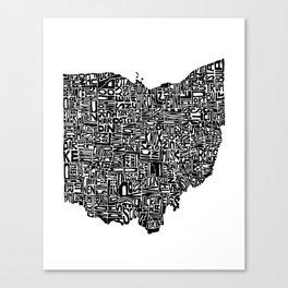 Typographic Ohio Canvas Print