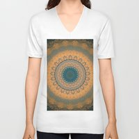bohemian V-neck T-shirts featuring Bohemian Orange by Jane Lacey Smith