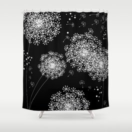 DANDELION SNOWFLAKE BLACK Shower Curtain