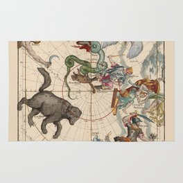 Pictorial Celestial Map with Constellations Ursa Major and Ursa Minor Rug