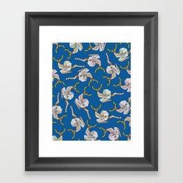 Dancing Reindeers - Diesel Blue Framed Art Print