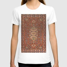 Persia Isfahan 19th Century Authentic Colorful Red Blue Tan Vintage Patterns T-shirt