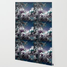 Flowers Purple & Teal Wallpaper