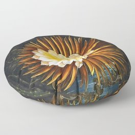 'The Night Blowing Cereus' Cactus by Philip Reinagle (flower) and Abraham Pether (background) Floor Pillow
