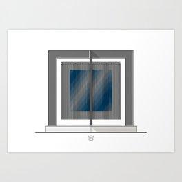 Escultura Cubo virtual azul y negro con progresión amarilla Art Print