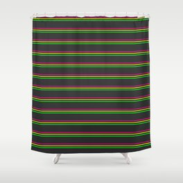 Phillip Gallant Media Design - Pink, Yellow, Green Lines on Black Shower Curtain