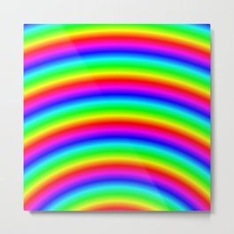 Bright Neon Psychedelic Rainbow Metal Print