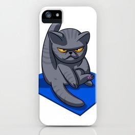 Yoga cat - Angry cat - grey cat - fat cat iPhone Case