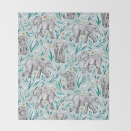 Baby Elephants and Egrets in Watercolor - egg shell blue Throw Blanket