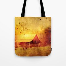 Surreal Barn Landscape - Red Yellow Barn With Flying Ravens Tote Bag