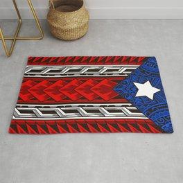 Puerto Rican Tribal Flag - Modern Boricua Rug