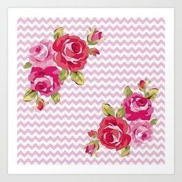 Roses on geometric pattern Art Print