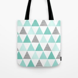 Black Stripes and Mint Triangles Tote Bag