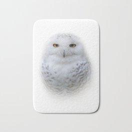 Dreamy Encounter with a Serene Snowy Owl Bath Mat