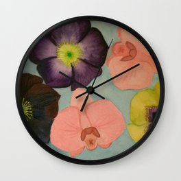 Orchids and Hellebore Wall Clock