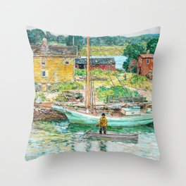 Oyster Sloop, Cos Cob - Digital Remastered Edition Throw Pillow