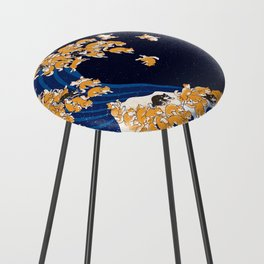 Shiba Inu The Great Wave in Night Counter Stool