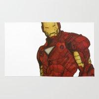 iron man Area & Throw Rugs featuring Iron Man by DeMoose_Art