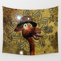 steampunk Wall Tapestries featuring Steampunk, giraffe by nicky2342