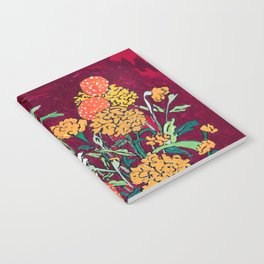 Marigold, Daisy and Wildflower Bouquet Fall Floral Still Life Painting on Eggplant Purple Notebook