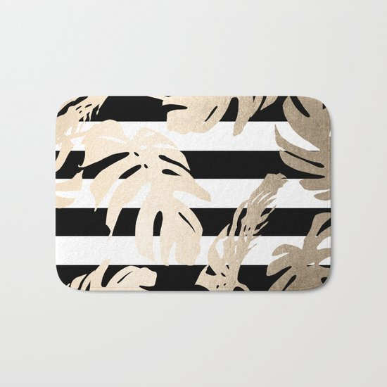 Simply Tropical Palm Leaves on Stripes Bath Mat