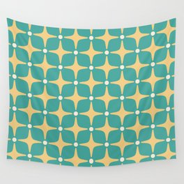 Mid Century Modern Star Pattern 143 Teal and Yellow Wall Tapestry