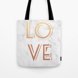 Art Deco Love Rose Gold Marble Tyrpography Print Tote Bag