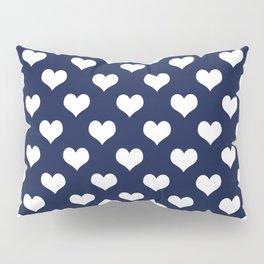 Navy Blue Love Hearts Minimal Pillow Sham