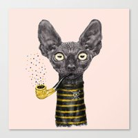 black cat Canvas Prints featuring Black Cat by dogooder