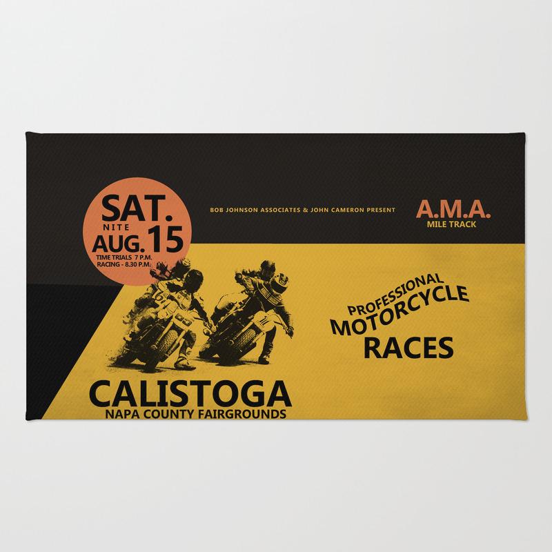 Calistoga Motorcycle Races Rug by Markrogan RUG8563966